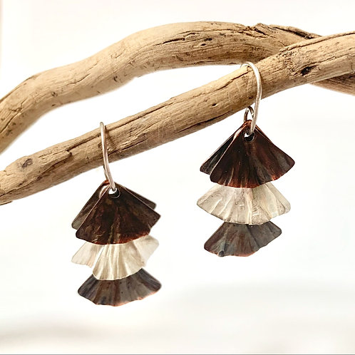 small silver and copper scalloped earrings