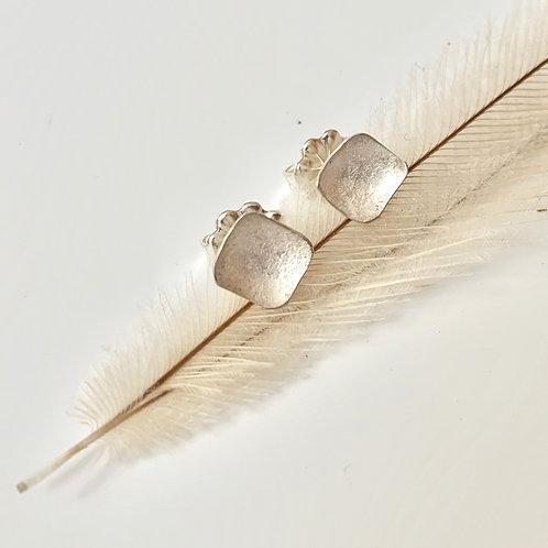 tiny sliver square earrings
