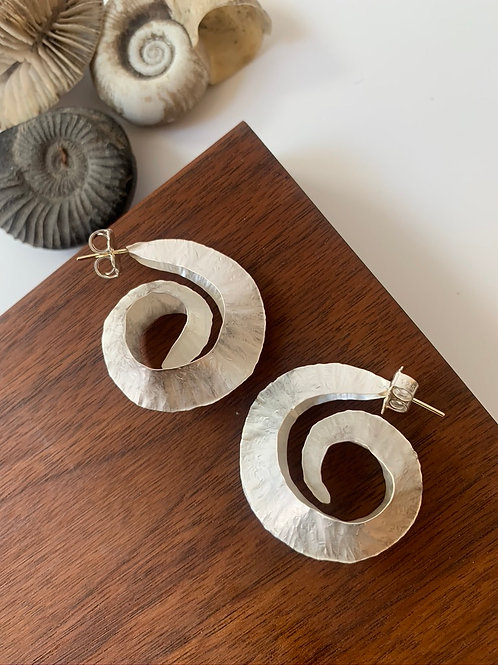 Sterling silver nautilus earring