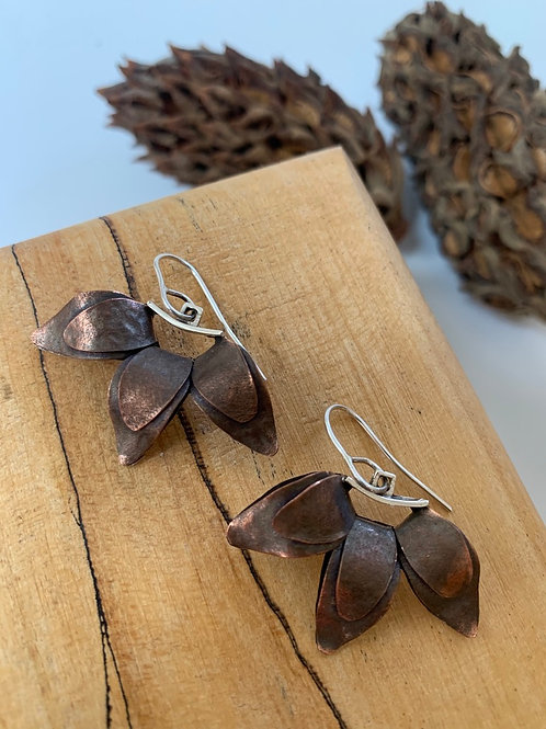 Copper and silver three leaf arch earring