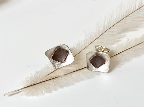 Silver and copper square studs