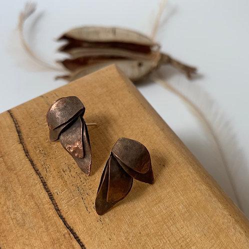 Two leaf copper post earring