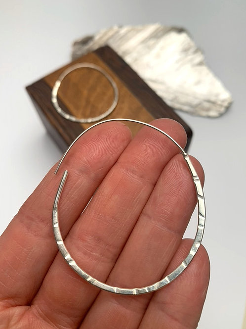 Extra large sterling silver hoops