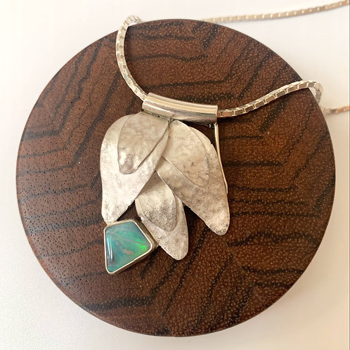 Silver leaf pendant with opal