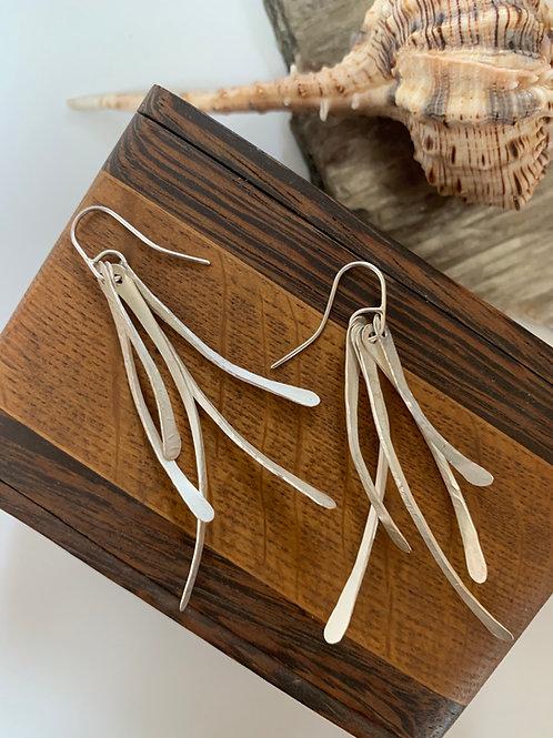 Long sterling silver twig earrings