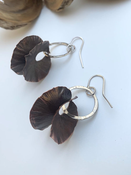Copper and silver small rounded earrings
