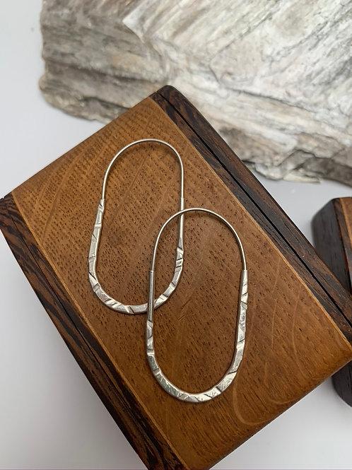 Oblong Silver hoop