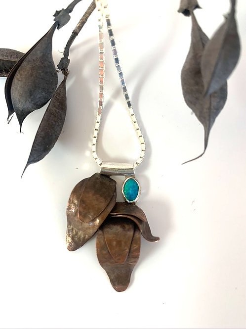 Copper and silver necklace with opal