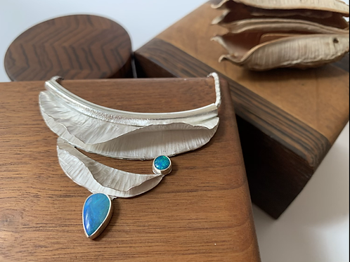 Sterling silver two opal fold form necklace