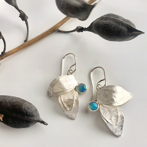 Small silver two leaf earrings with opal
