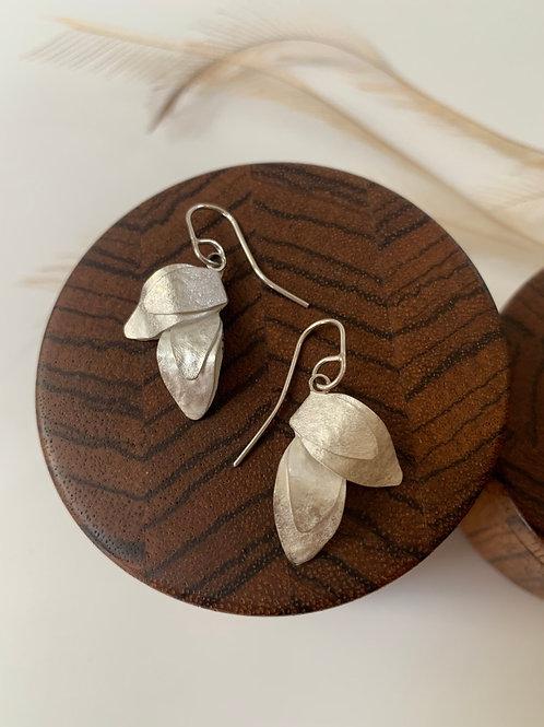 Small two leaf dangle earring