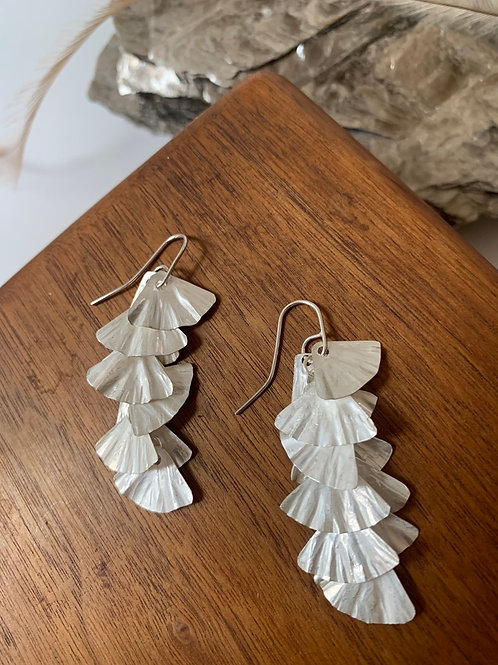 Long sterling silver scallop earrings