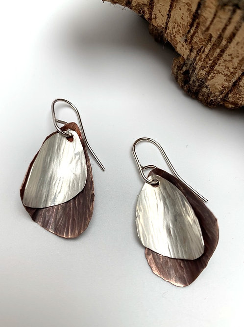 Silver and copper two wing earrings