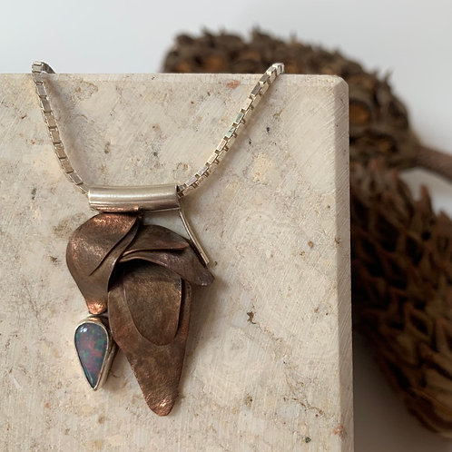 Copper leaf pendant with opal