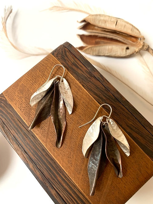 Silver and copper mixed leaf earring
