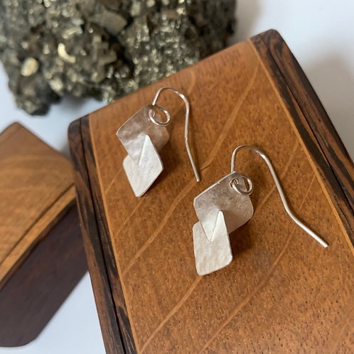 Small silver square-square earrings