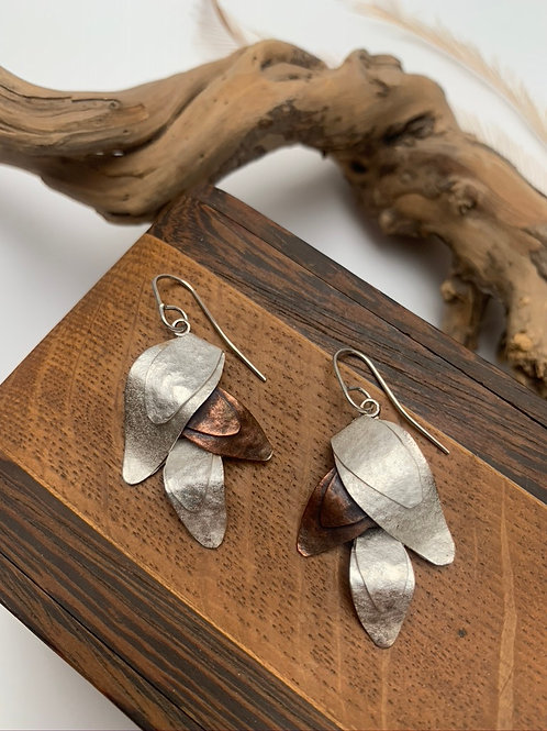 Silver and copper leaf earrings