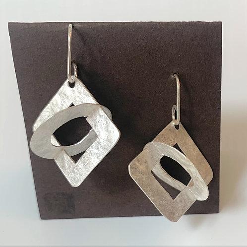 Large circle-square earrings