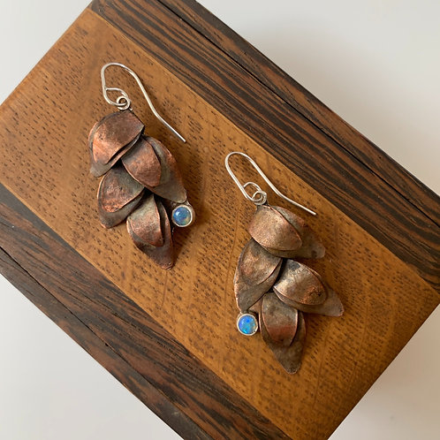 Copper leaf earrings with opal
