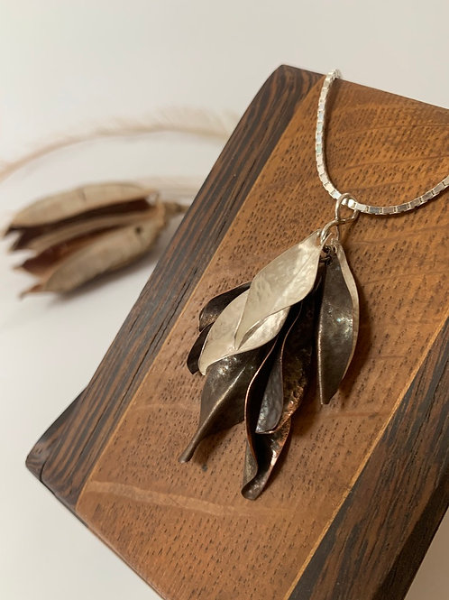 Mixed copper and silver leaf necklace