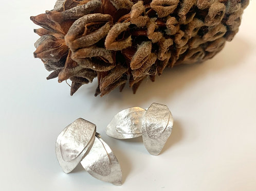 Silver leaf post earring