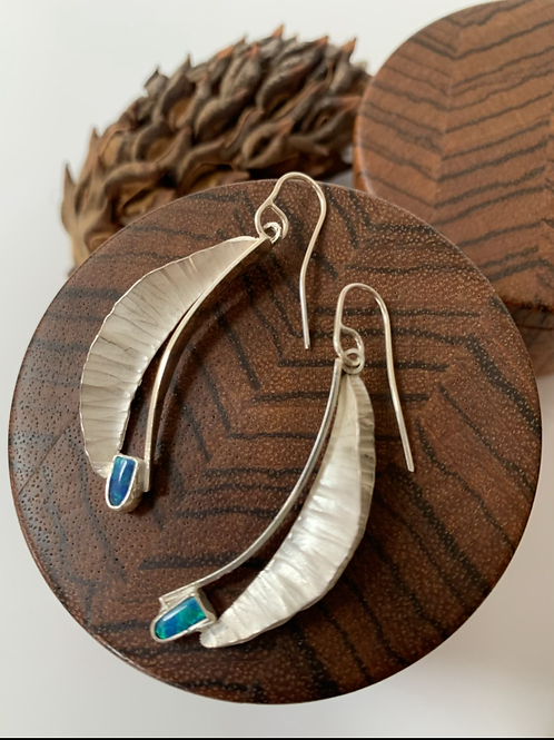Silver and opal fold form earring
