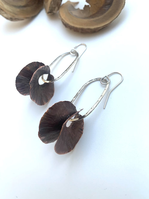 Copper and silver oblong earrings
