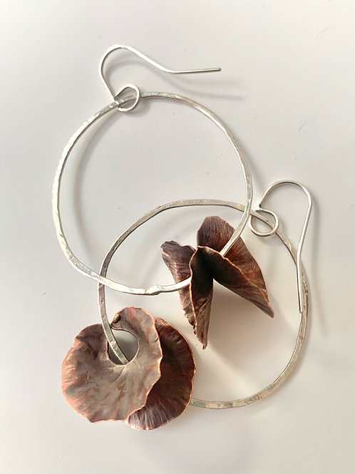 Copper and silver large rounded earrings