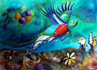 Spirit of the Quetzal (mixed media on pa