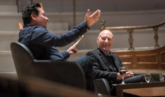 Nick Ahad interviewing Sir Patrick Stewa