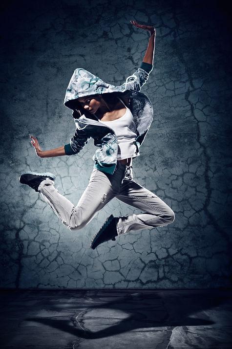 urban hip hop dancer with grunge concret