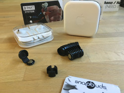 snapbuds - The World's Best Earbud Detangling System - Black snapbuds with two earbud containers two