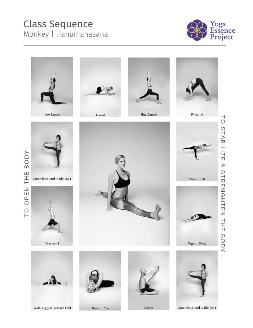Yoga class sequence Monkey Pose | Hanumanasana