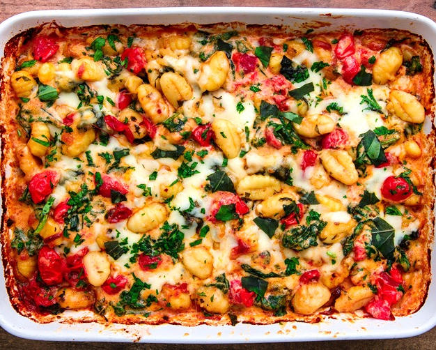 Oven-baked gnocchi