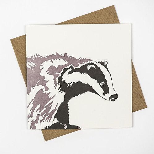 Letterpress Badger Card
