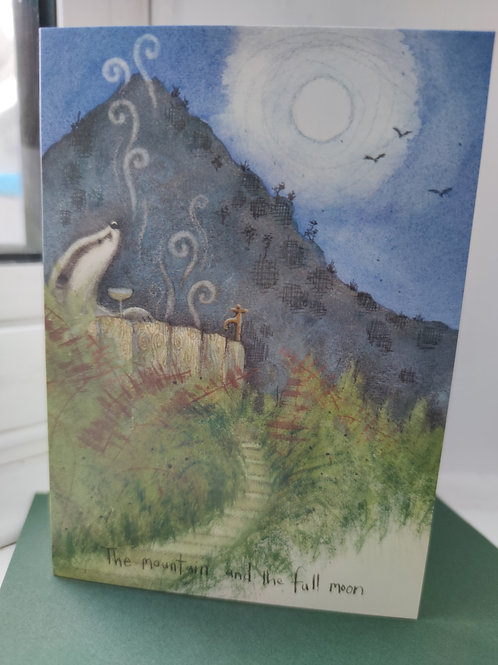 A Mountain and Full Moon Greeting Card