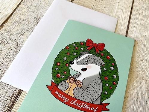 Badger in a Wreath Christmas Card