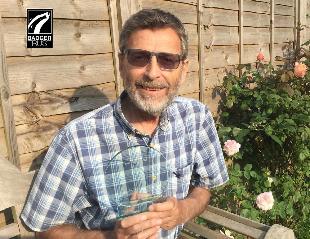 Badger Trust volunteer Graham Tebbutt with his Invisible Hero Award