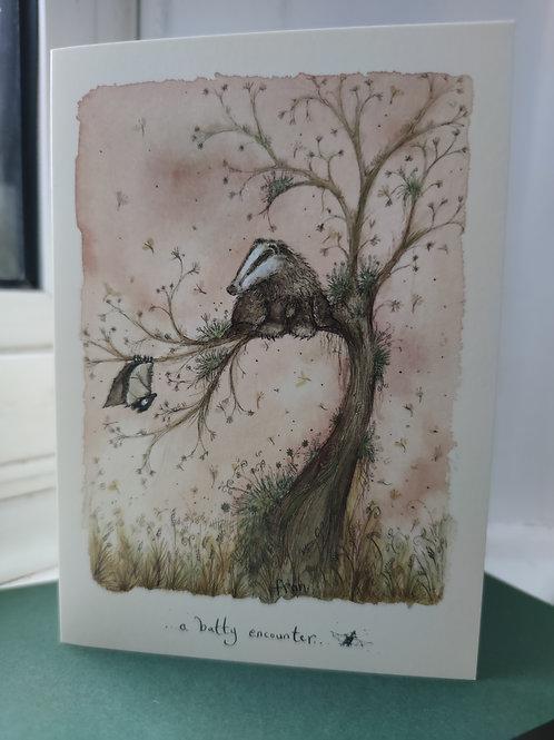 A Batty Encounter Greeting Card