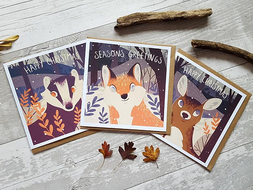 Woodland Critter Christmas Cards (3 pack)