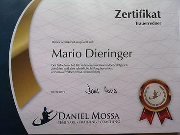Zertifikat Trauerredner Mario Dieringe