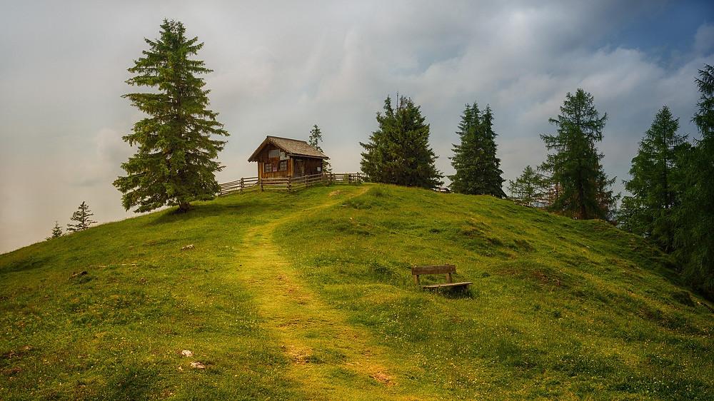 Die Schweizer Alm als letzte Ruhestätte, Asche wird verstreut  / Almwiesenbestattungn