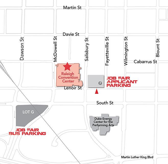 Parking map showing bus parking at Job Fair