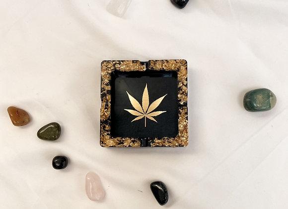 Gold & Black Leaf Ashtray