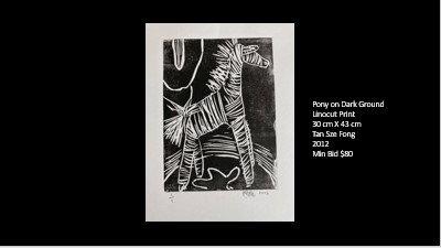 Pony on Dark Ground (Linocut Print - 30 x 43 cm)