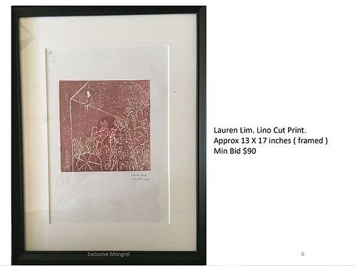 Lino Cut Print (13 x 17 inches)(framed)