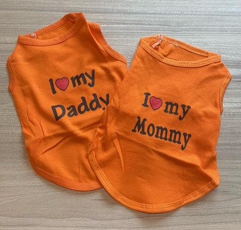 Pet T-Shirts - I Love My Mummy/Daddy (S size)