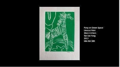 Pony on Green Space (Linocut Print - 30 x 43 cm)