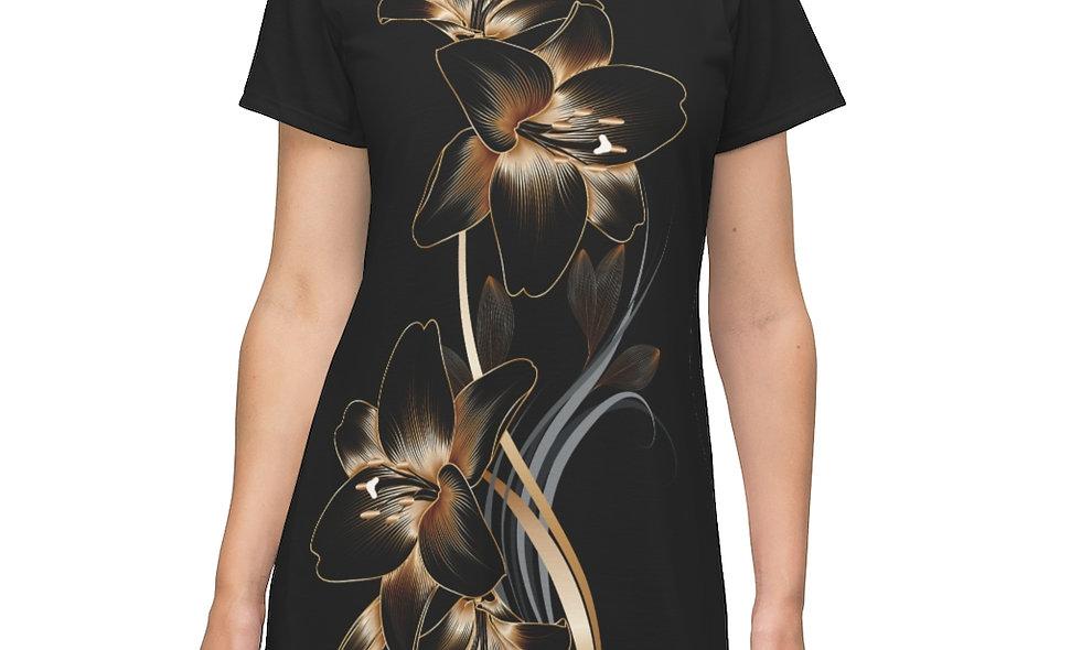 Gold Flowers T-Shirt Dress