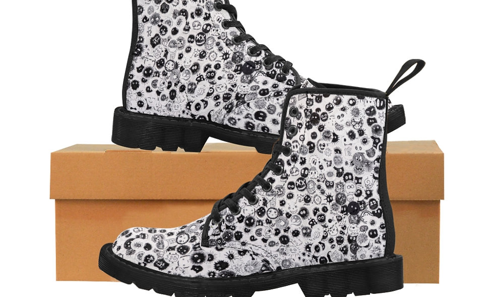 Many Faces Canvas Boots